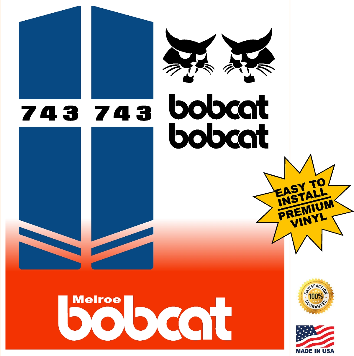 Bobcat 743 replacement decal kit